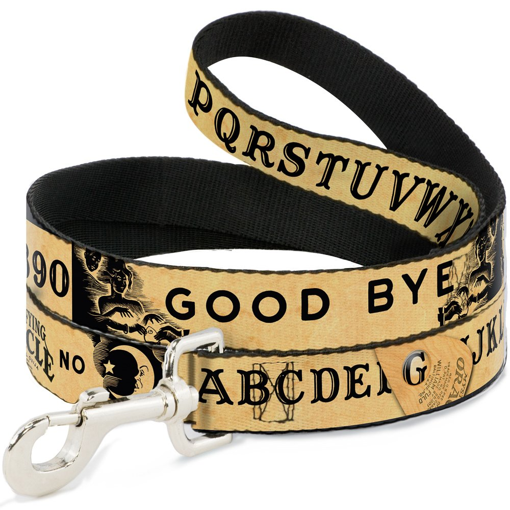 6'-1.5\ Buckle-Down Ouija Board Elements4 Natural Black  Pet Leash, 6'-1.5