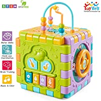 ToyVelt Activity Cube for Toddlers Baby Educational Musical Toy for Kids - Early Development Learning Toys with 6 Different Activities - Best Gift for Children 1 2 3 Years Old