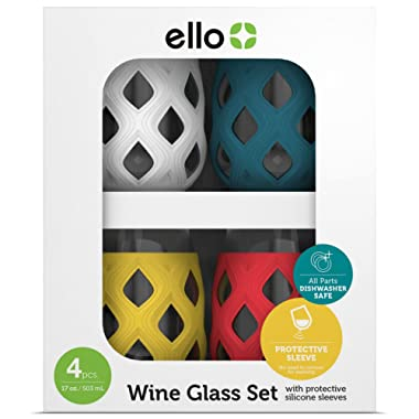 Ello Cru BPA-Free Stemless Wine Glass Set with Silicone Protection (4 Pack), Mai Tai, 17 oz.