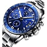 Mens Chronograph Multifunction Watch Stainless Steel Quartz Automatic Calendar Wristwatch Sport Military Waterproof Auto Date