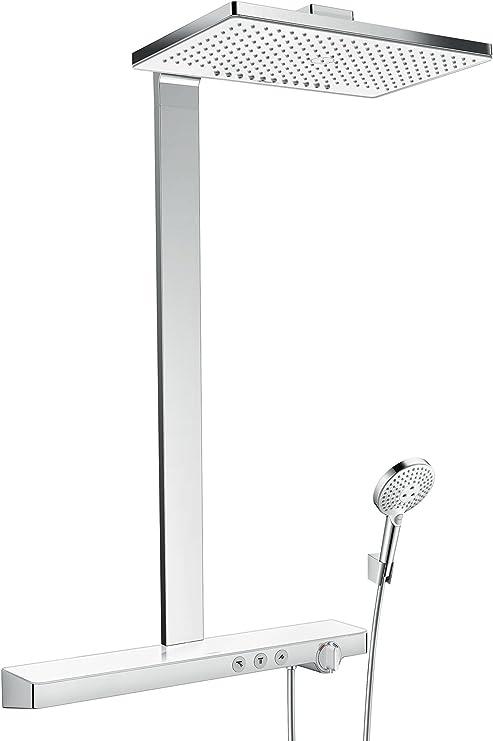 hansgrohe colonne de douche showerpipe rainmaker select 460 2 jets mitigeur thermostatique douche blanc chrome 27109400