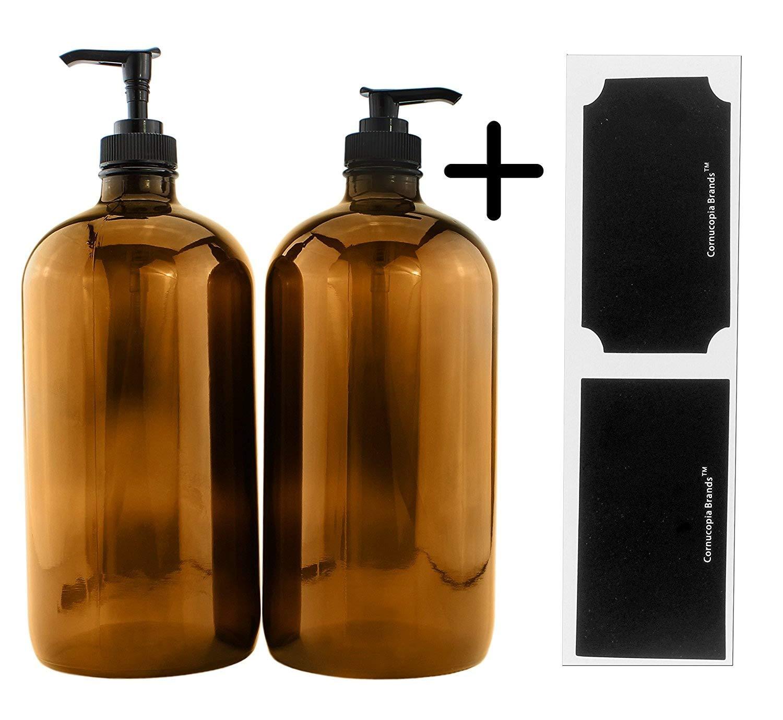 32-Ounce Amber Glass Lotion Pump Bottles (2-Pack); Quart Size Brown Bottles w/Black Plastic Soap & Lotion Locking Pump Dispensers; Includes Chalk Labels Cornucopia Brands