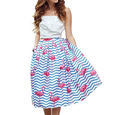 b053dfa109 Chicwish Women's Flamingo Blue and White Stripes Zigzag Printed High Waist  A-line Midi Pleated