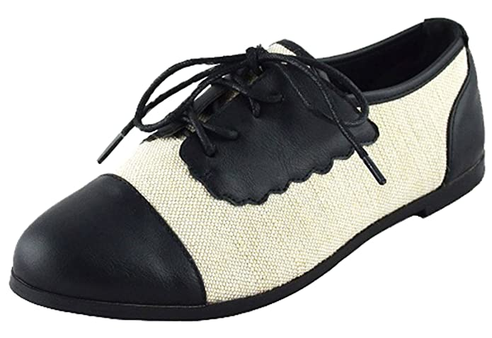 Vintage Style Shoes, Vintage Inspired Shoes Chase & Chloe Womens Two Tone Lace Up Oxford Flat $23.45 AT vintagedancer.com