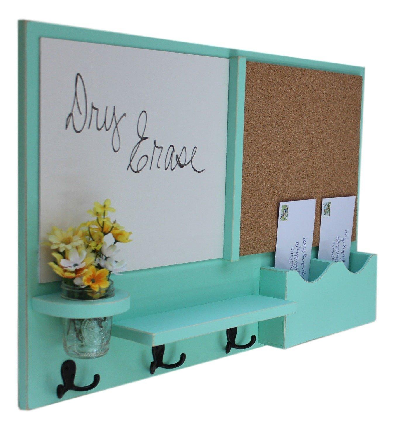 Legacy Studio Décor Message Center with White Board & Cork Board Letter Holder Coat Rack Key Hooks (Distressed, Sea Foam)
