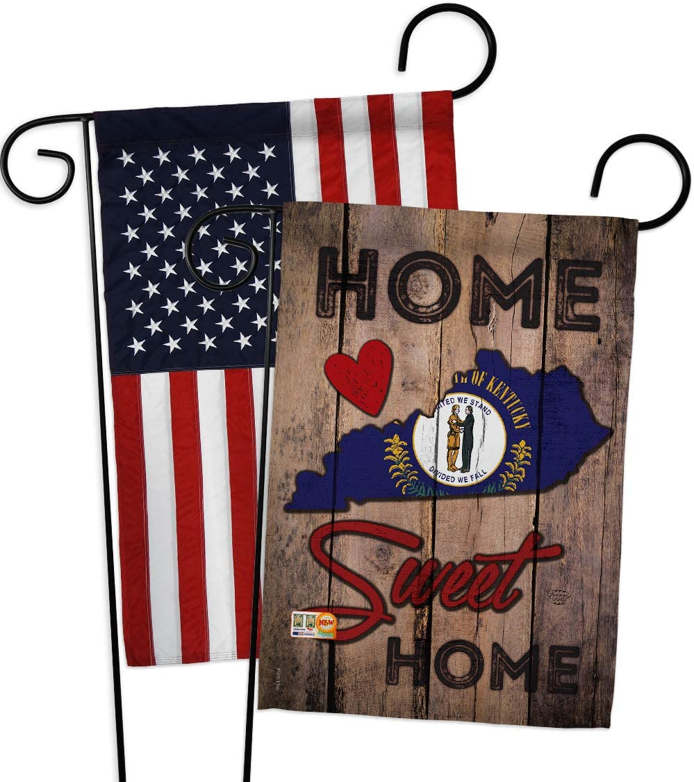 States State Kentucky Home Sweet Garden Flags Pack Regional USA American Territories Republic Country Particular Area Applique Small Decorative Gift Yard House Banner Double-Sided US Made 13 X 18.5