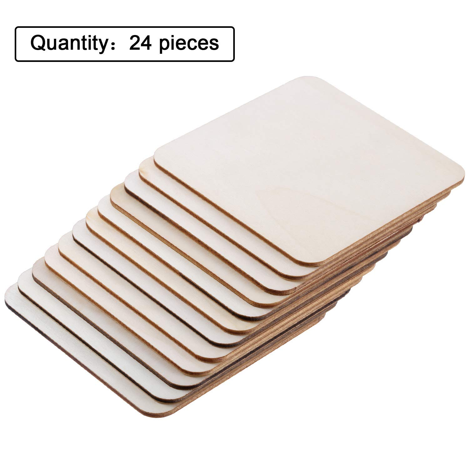 4 x 4 inch 24 Pieces Blank Wood Squares Wood Pieces Unfinished Round Corner Square Wooden Cutouts for DIY Arts Craft Project Laser Engraving Carving Decoration