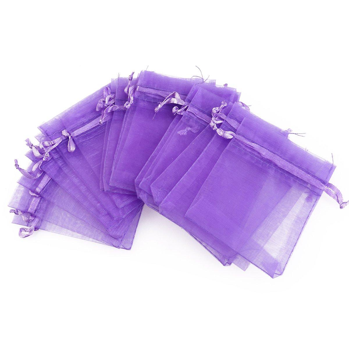 violet clair Pack de 100 9cm Organza cordon cadeau sacs faveur de mariage sacs bijoux sachets PIXNOR 7