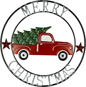 Direct International Metal Art Merry Christmas Vintage Truck and Tree Round Wall Hanging 22 inch