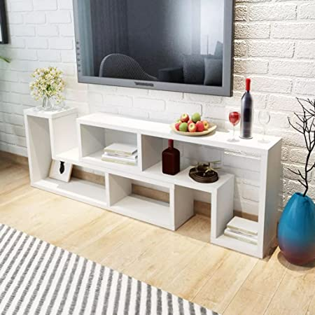 Retrome Mueble de TV para Sala de Estar, Mesa de TV Moderna Doble en Forma de L, Color Blanco, para PC, Monitor de computadora, portátil y TV: Amazon.es: Hogar
