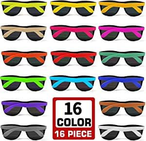 16 Colors Neon Party Sunglasses 16 Pack with Dark Lenses, 80's Style Perfect Colorful Novelty Sun glasses Set For Party Favors, Beach Pool, Outdoor Summer Activity, Goody Bag Fillers