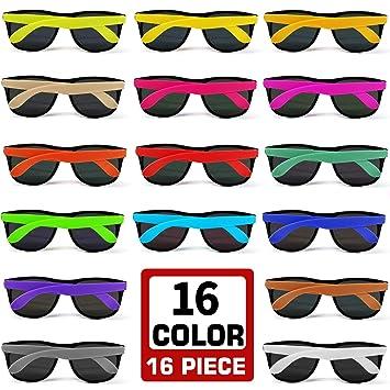 Amazon.com: 16 gafas de sol de fiesta de neón de 16 colores ...