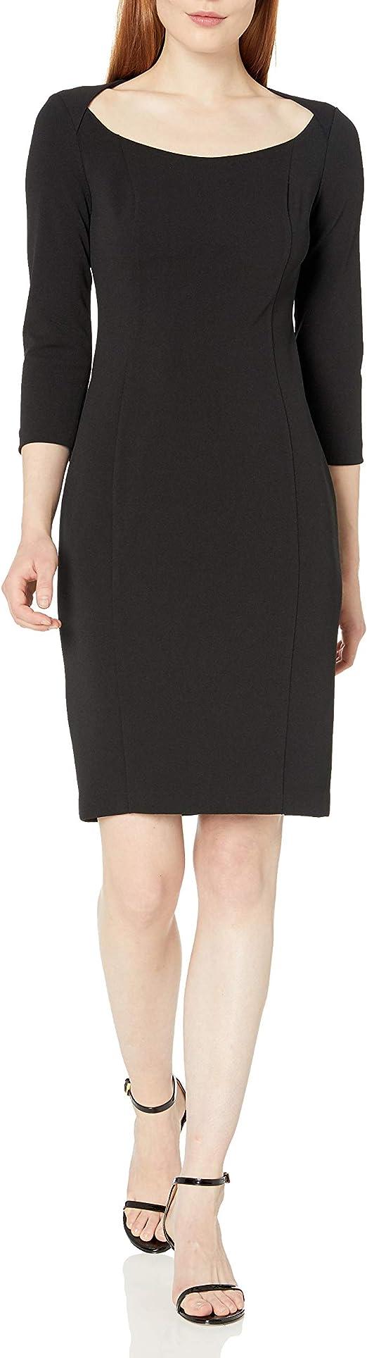 Calvin Klein 卡尔文克莱因 CK 七分袖 大开领女式连衣裙 2.7折$35.72 海淘转运到手约¥283