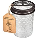 Mason Jar Toothbrush Holder - Premium Rustproof 304 Stainless Steel - Holds 2 Toothbrushes and Toothpaste - Farmhouse Decor C