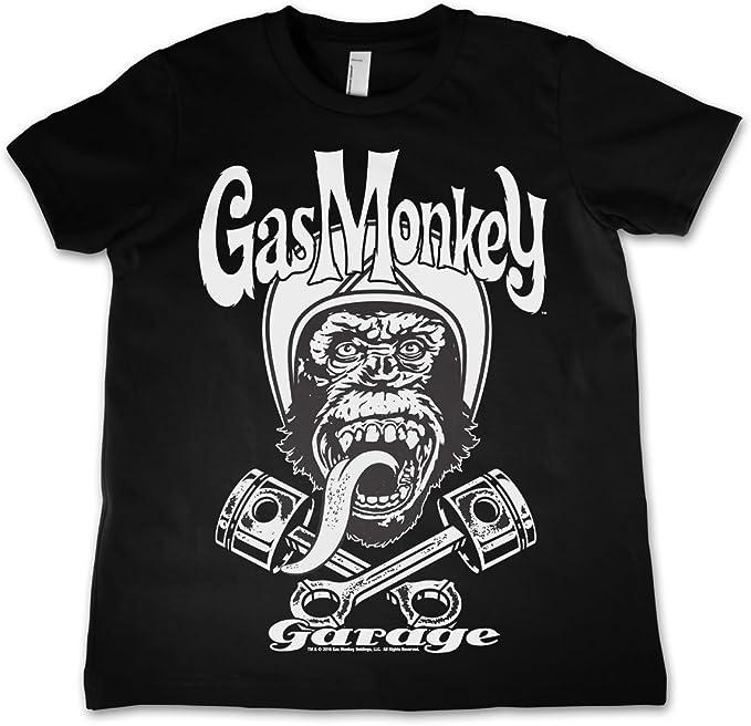 Mercanc/ía con Licencia Oficial Gas Monkey Logo Unisexo Ni/ños T-Shirt Ages 3-12 Years
