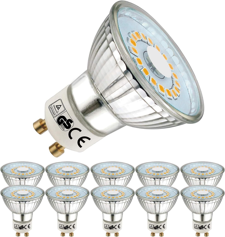EACLL Bombillas LED GU10 2700K Blanco Cálido 5W 535 Lúmenes Equivalente 50W Halógena. Sin Estroboscópica, 120 ° Luz Blanca Cálida Spotlight LED, 10 Pack