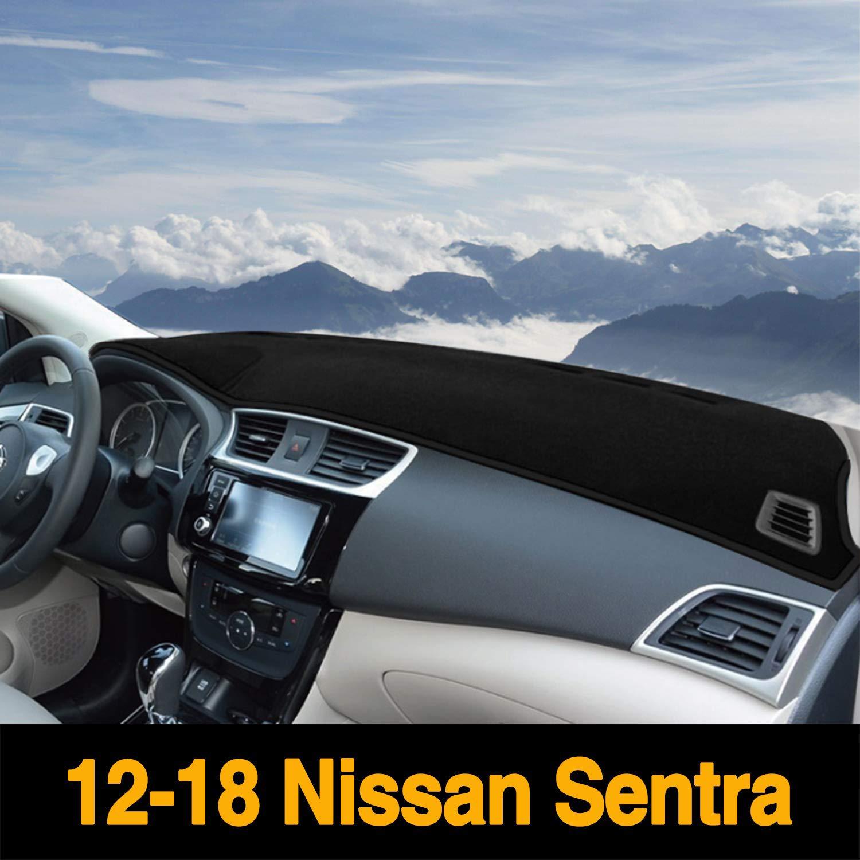 Autoxrun Dashboard Carpet Black Center Console Cover Dash Mat Protector Sunshield Cover Custom Fits 2012-2018 Nissan Sentra