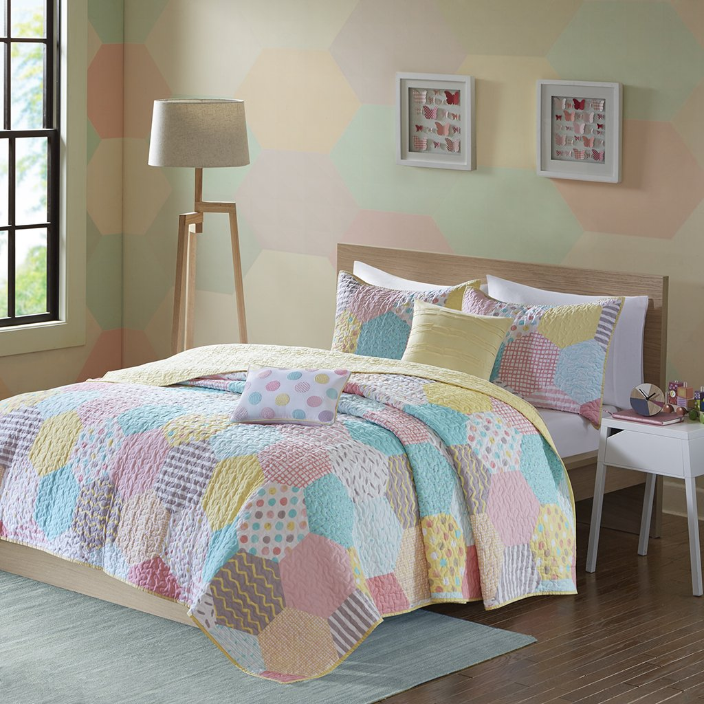 Urban Habitat Kids Trixie Twin/Twin XL Bedding for Girls Quilt Set - Pink Yellow Teal, Geometric – 4 Piece Kids Girls Quilts – Cotton Quilt Sets Coverlet