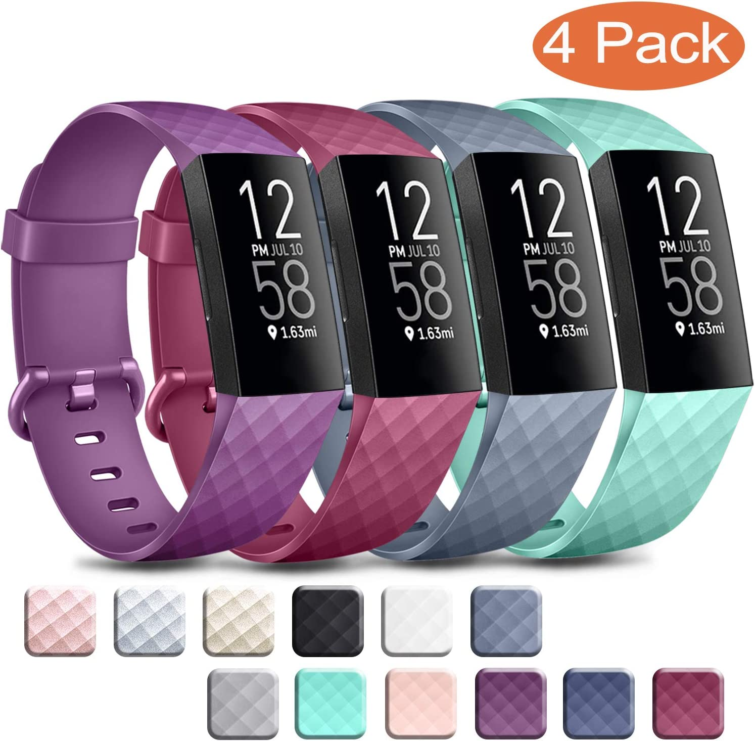 Wanme Pack 4 Kompatibel f/ür Charge 3 Armband Verstellbarer Sport Ersatzarmband Kompatibel mit Fitbit Charge 4 und Fitbit Charge 3 Fitbit Charge 4 Armband