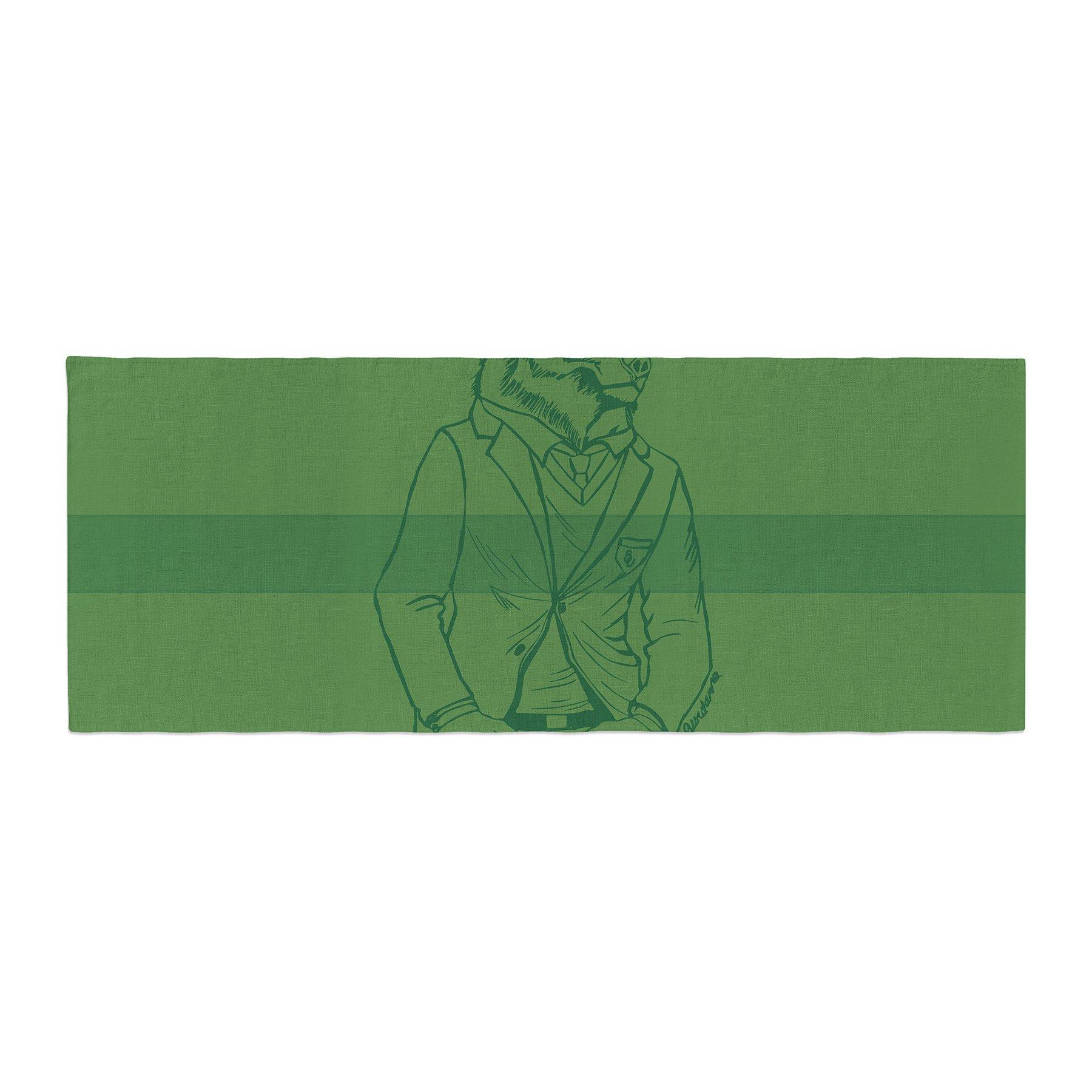 Kess InHouse Geordanna Cordero-Fields Dapper Bear Green Emerald Animal Bed Runner, 34'' x 86''