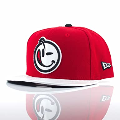 499f002ca22e3 New Era 9FIFTY x Yums Smiley Face  Faux Leather Visor  Red White Snapback