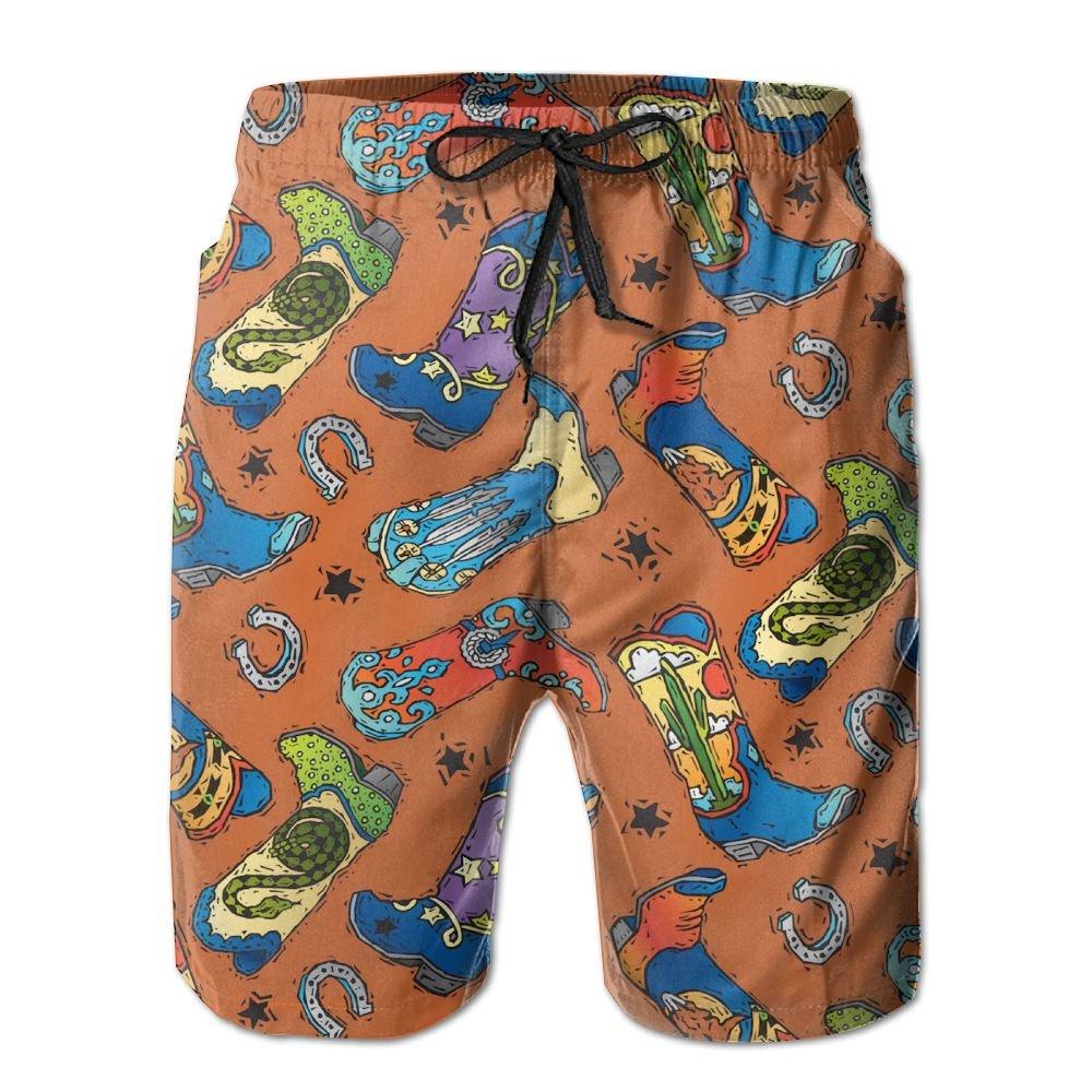 J,CORNER Mens Cowboy Boots Pattern Summer Holiday Swim Trunks Beach Shorts Board Shorts Medium