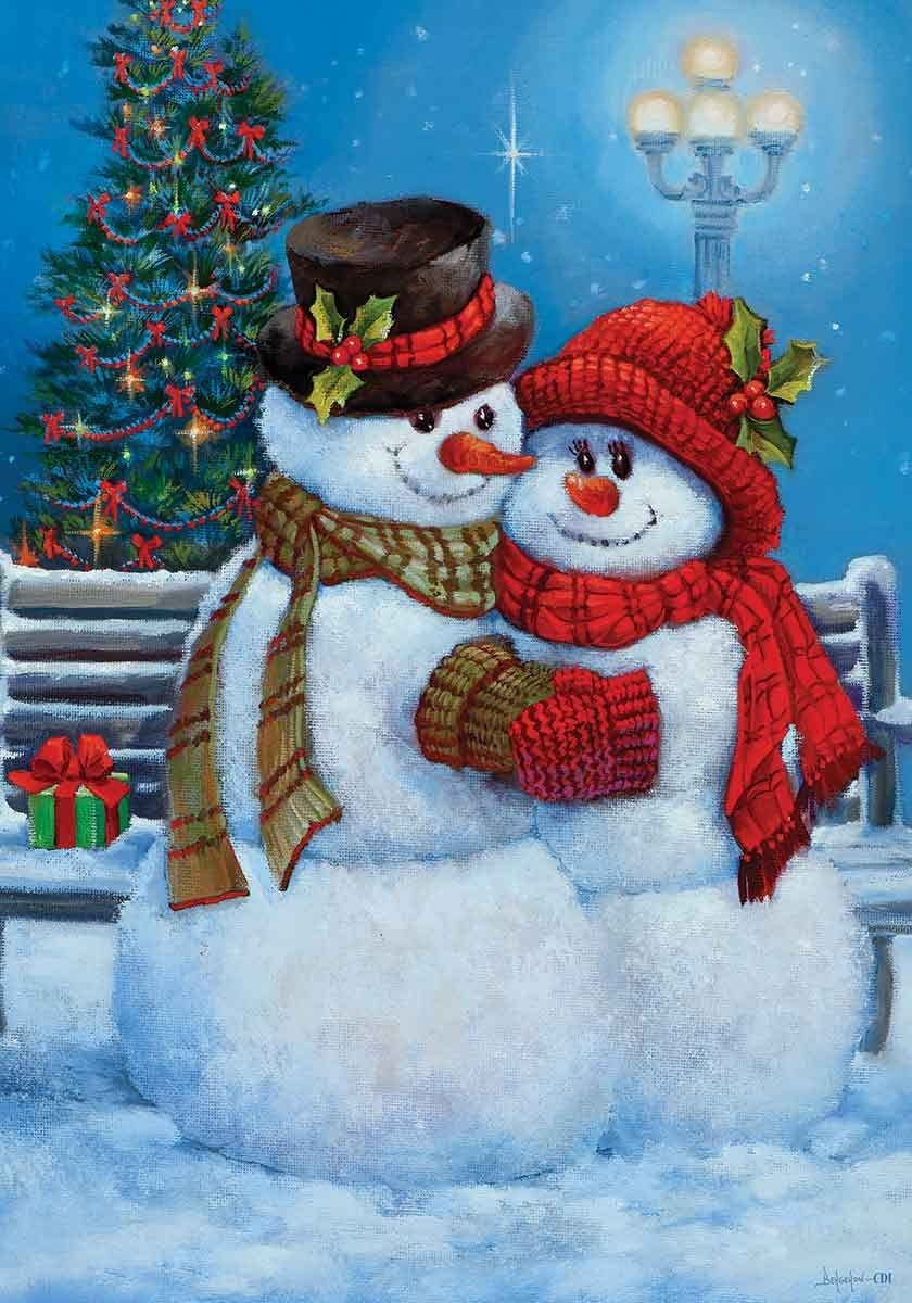 """"""" Snowman Couple """" - Double Sided, Standard Size, 28 Inch X 40 Inch Decorative Flag"""