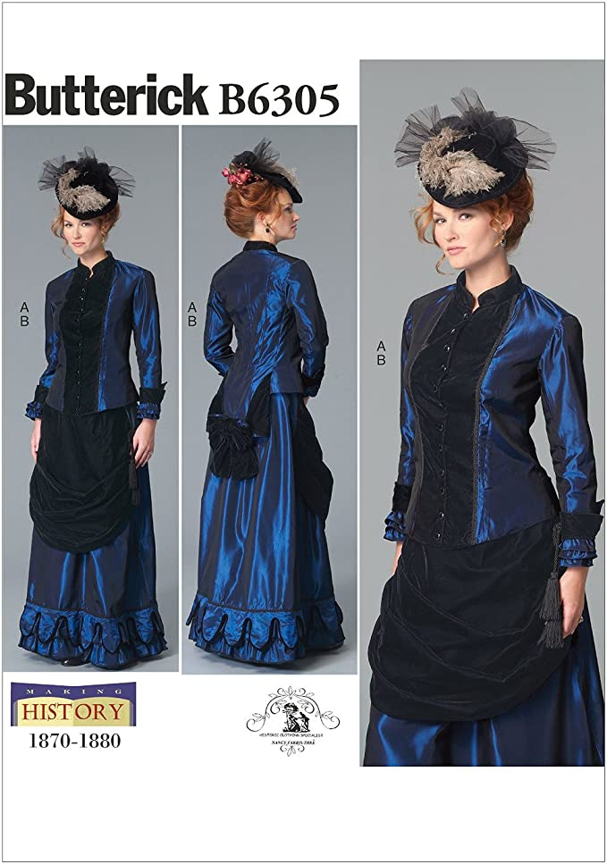 Victorian Dresses, Clothing: Patterns, Costumes, Custom Dresses Butterick Pattern 6305 F5Misses CostumeSizes 16-24 Multicolor (16-18-20-22-24) £5.75 AT vintagedancer.com