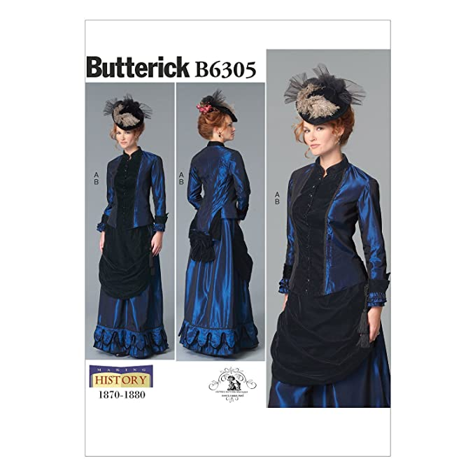 Edwardian Sewing Patterns- Dresses, Skirts, Blouses, Costumes BUTTERICK PATTERNS B6305 Victorian Top & Front Drape Skirt F5 (16-18-20-22-24) $7.00 AT vintagedancer.com