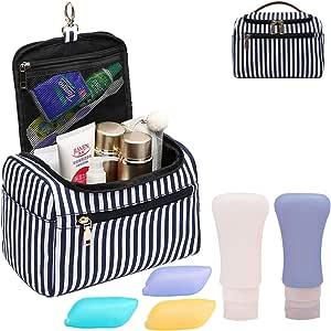 حقيبة أدوات الزينة IBLUE المعلقة ، حقيبة سفر كبيرة السعة للرجال والنساء - أدوات الزينة حقيبة ماكياج التجميل اكسسوارات السفر #B04, , Blue stripe 03 - #B02 Toiletry Bags