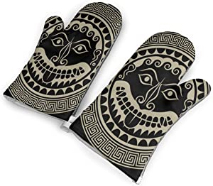 Ancient Greece Shield with Gorgon Medusa Head Kitchen Oven Mitt,Nylon Long Microwave Oven Glove, Extreme Heat Resistant 572 Degree Nonslip Glove for Potholders Cooking, BBQ, Frying, Baking (1 Pair)