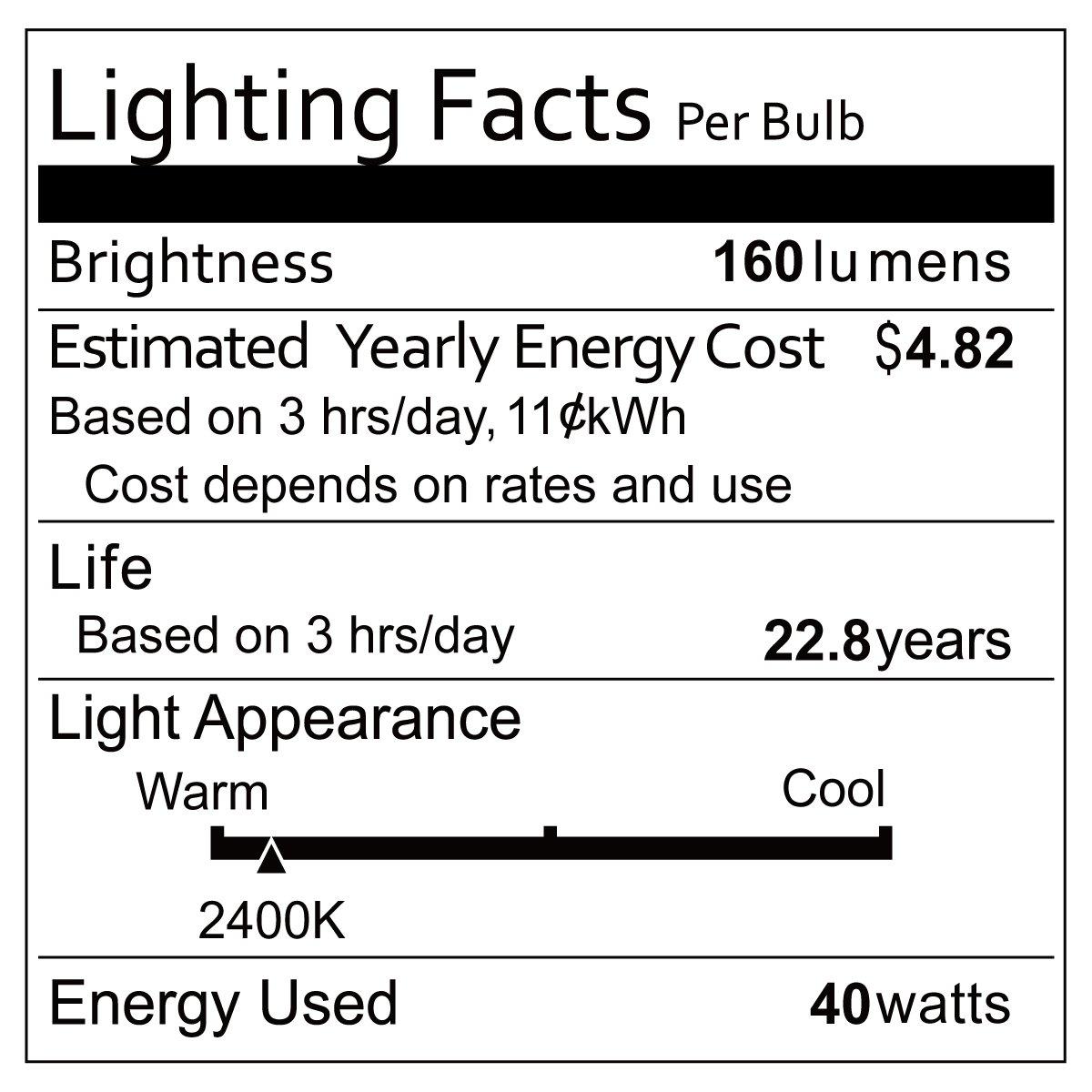 Oak Leaf Incandescent Light Bulbs 40 Watt, Amber Bulb 40W Edison Bulb Vintage Antique Filament Light Bulbs, 2400K Warm White(Amber Glow),Medium Screw Base E26,6 Pack by Oak Leaf (Image #2)