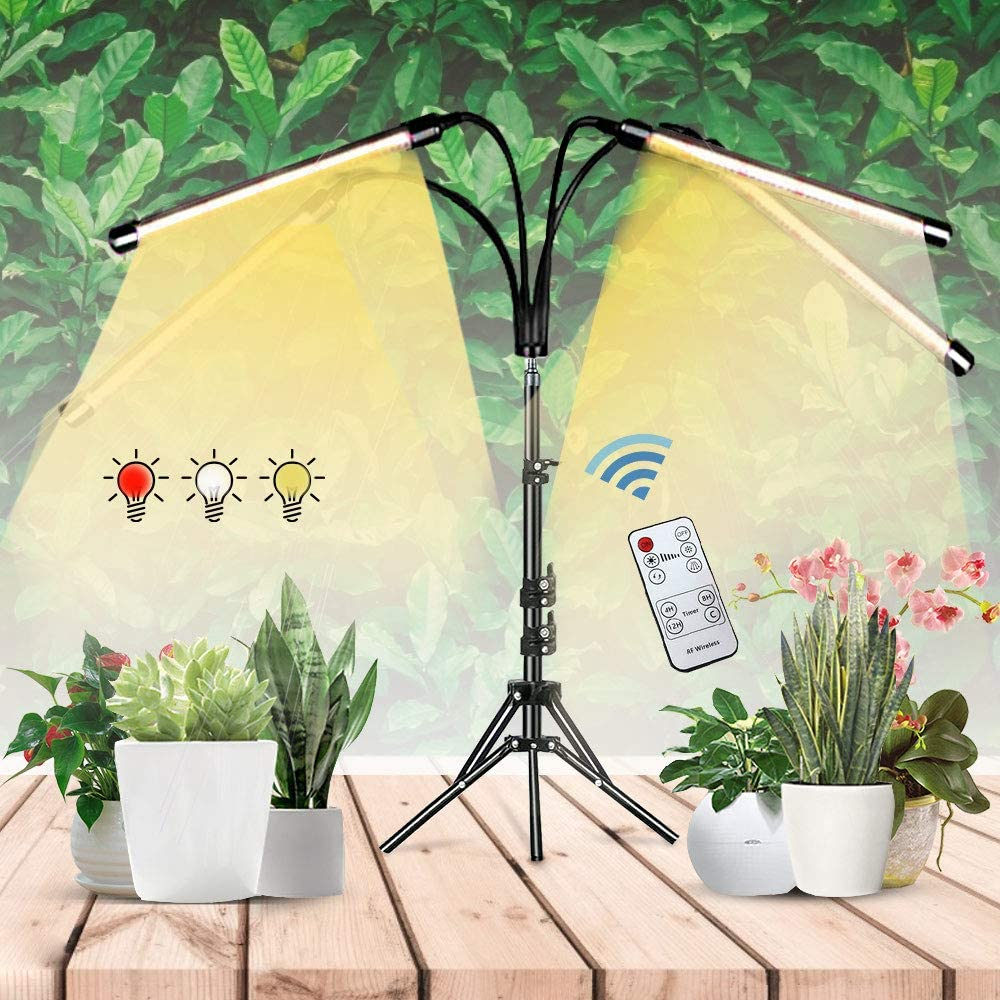 Newest GrowLightforIndoorPlants,AdjustablePlantSun GrowLampwith Stand and 4/8/12h Timer,Growing Lamp with Red White Warm Spectrum Full for Indoor Plants