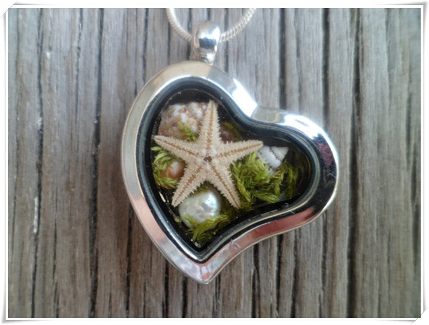 Dandelion Mother's Day Gift,Sea Necklace, Real Sea Shells, Starfish, Seaweed, Freshwater Pearl, Terrarium Necklace. wish dandelion