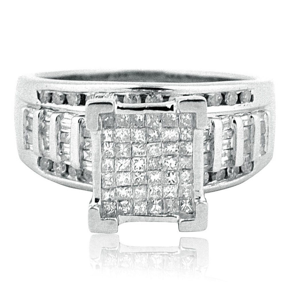 1cttw Diamond Wedding Ring 3 in 1 Style Sterling Silver 10mm Wide Princess Cut Diamonds