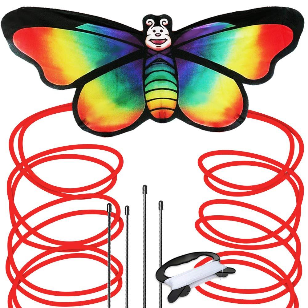 Regenbogen Schmetterling Drachen für Strand und Outdoor Fun-einfach zu montieren und starten Kite für Kinder aGreatLife