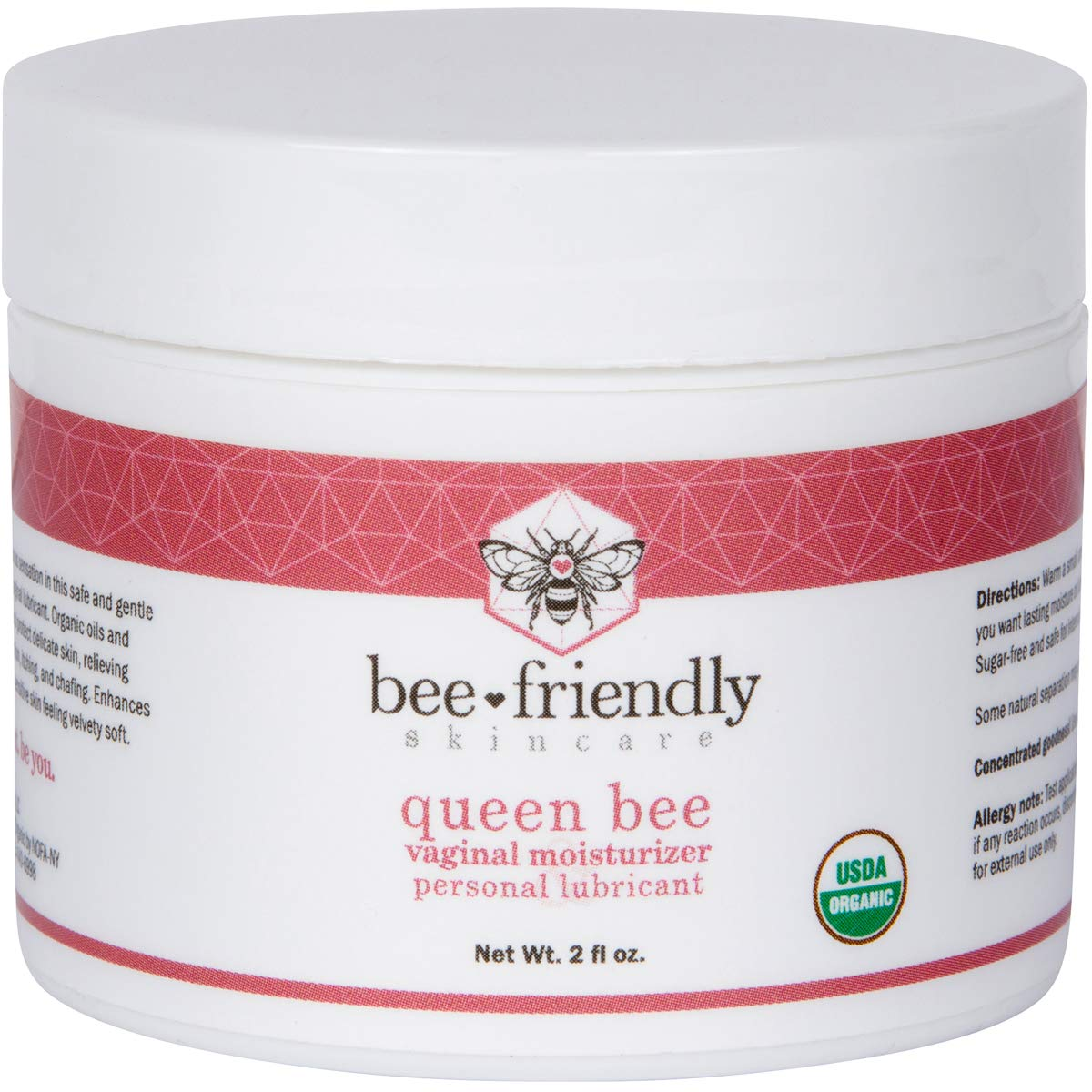 Organic Vaginal Moisturizer & Personal Lubricant By BeeFriendly, USDA Certified, Natural Vulva Cream For Dryness, Itching, Irritation, Redness, Chafing Of Vagina Due To Menopause & Thinning 2 oz by BeeFriendly