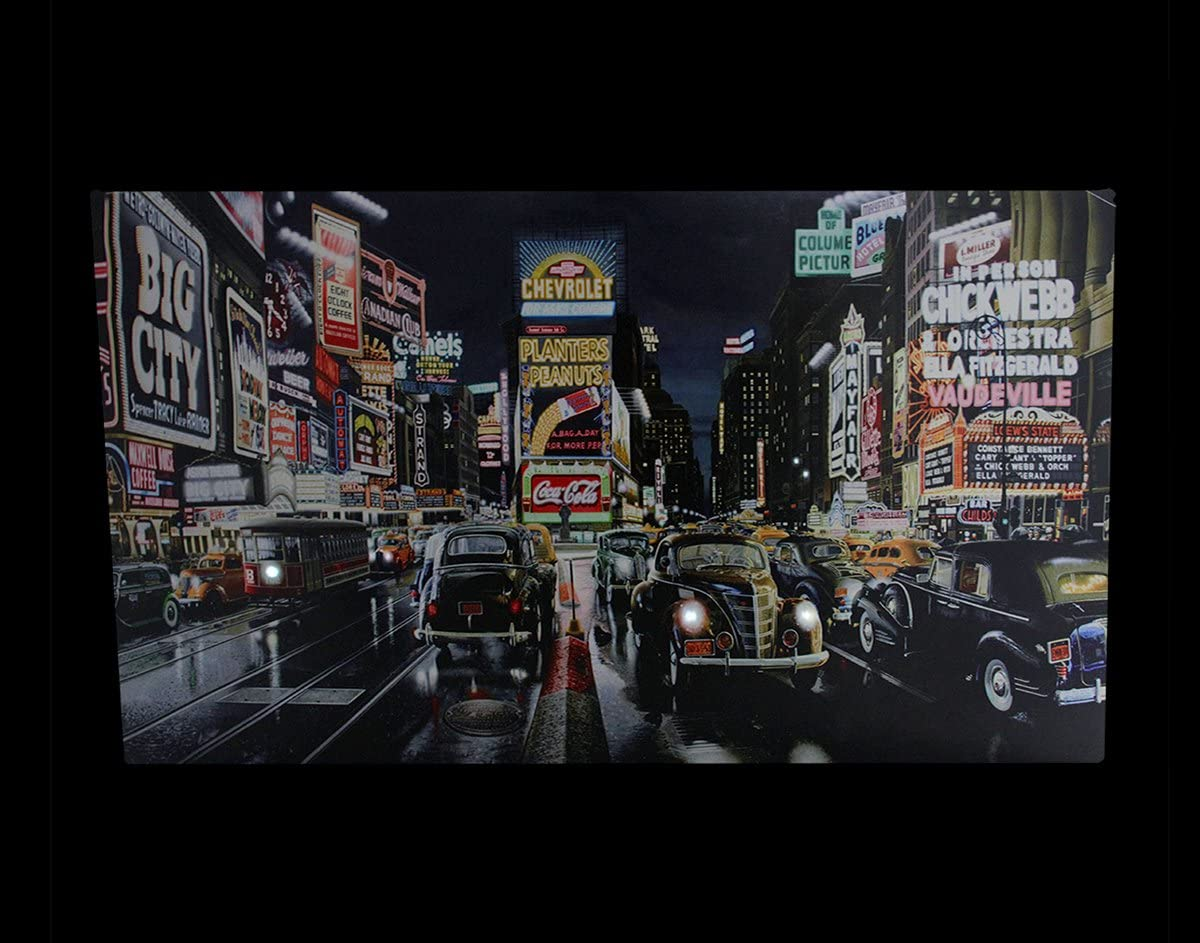 Northlight Led Lighted Nyc Times Square And Classic Cars Canvas Wall Art 15 75 X 23 75 Posters Prints