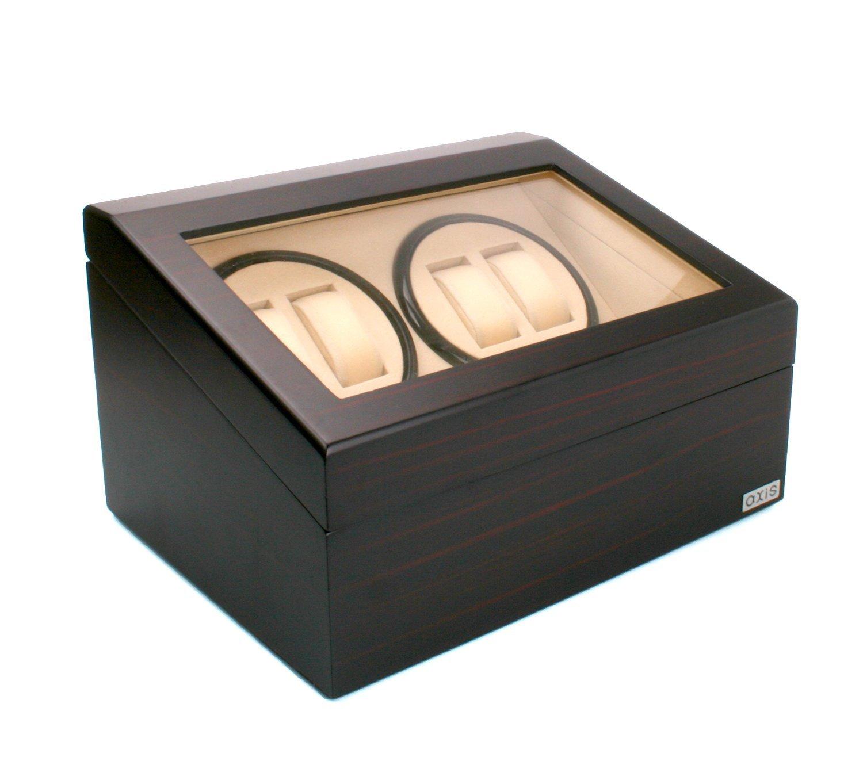 AXIS Automatischer Uhrenbeweger - fÜr 4 Uhren - luxuriÖs - mattes Kirchholz