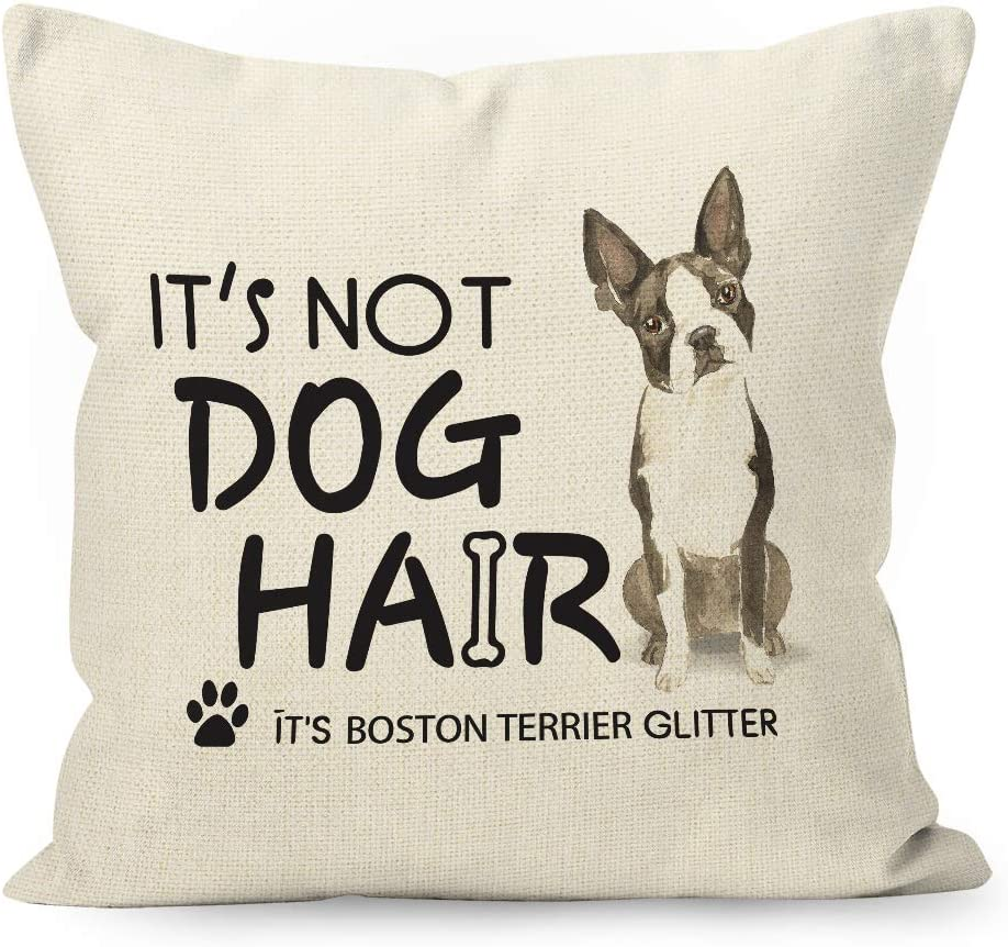 YUESHARE Funny Dog Quote It's Not Dog Hair It's Boston Terrier Glitter Watercolor Cotton Linen Throw Pillow Cover, Boston Terrier Dog Gifts for Home Room Bed Sofa Decorations Decor (18 x 18 Inch)