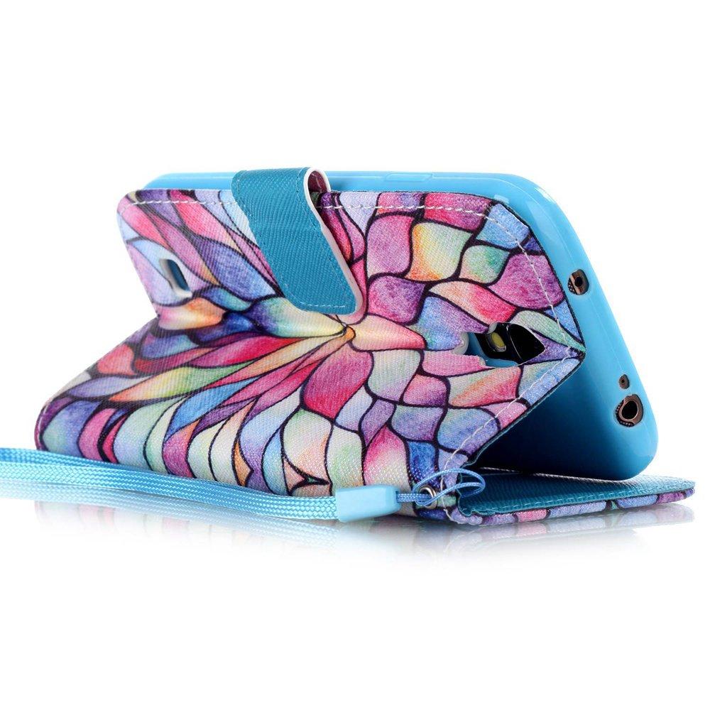 EMAXELERS Samsung Galaxy 8190 H/ülle Lucky Clover Muster Schutzh/ülle Schale Etui im Bookstyle Lederh/ülle Flip Kartenf/ächer Magnetverschluss und Standfunktion f/ür S4 Mini,Black Clover