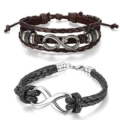 Aroncent Infinity Bracelet Leather Braided Wristband Men Women Black 2 PCS 8.5-10.5 Inches
