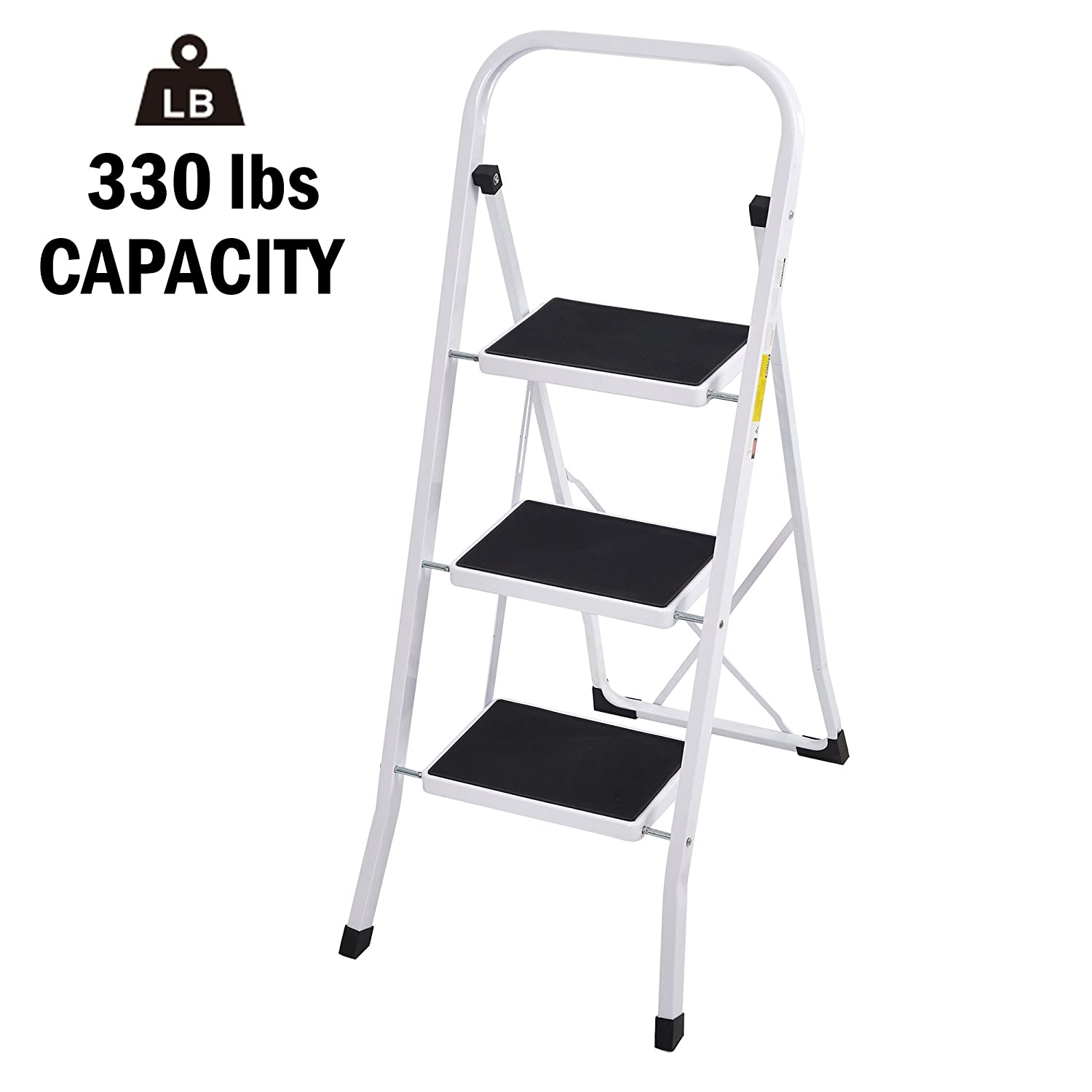 Sturdy Step Ladder 3 Step Heavy Duty Folding 3 Step Stool Home Kitchen Step Ladders, White