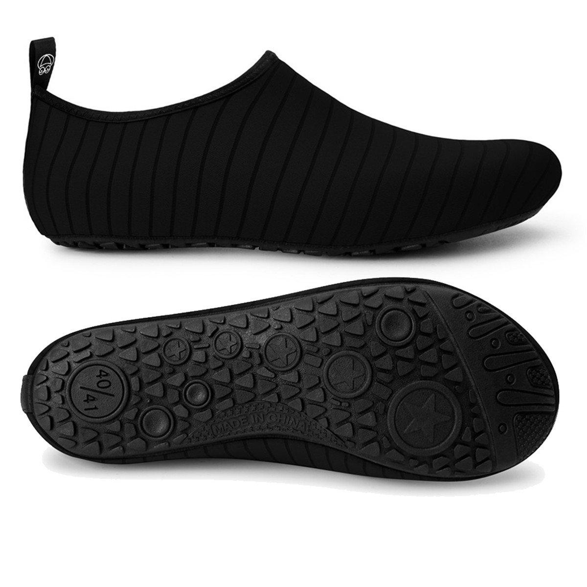 JIASUQI Summer Outdoor Beach Pool Swimming Aqua Water Shoes for Women Men Black US 9.5-10.5 Women, 8.5-9 Men by JIASUQI (Image #4)