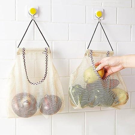 Xiaoqingmiao 2 bolsas de malla de algodón para colgar para la compra de alimentos bolsas de almacenamiento de frutas y verduras organizador de almacenamiento para baño, lavandería y juguetes: Amazon.es: Hogar