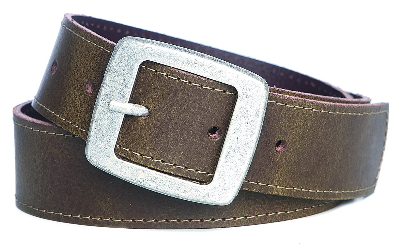Trachten Ledergürtel Jungen Gürtel abgesteppt Antikleder Doppelstegschließe 35mm braun : )