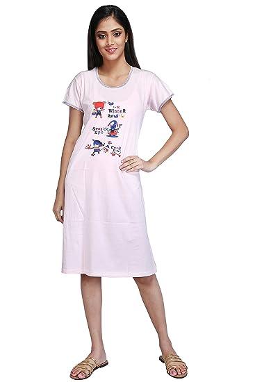 38437feb03 MUSE Short Nighty Cotton Sinker Hosiery for Women - Free Size -  Nightwear Night Dress Half Sleeve - Pink (Words)  Amazon.in  Clothing    Accessories