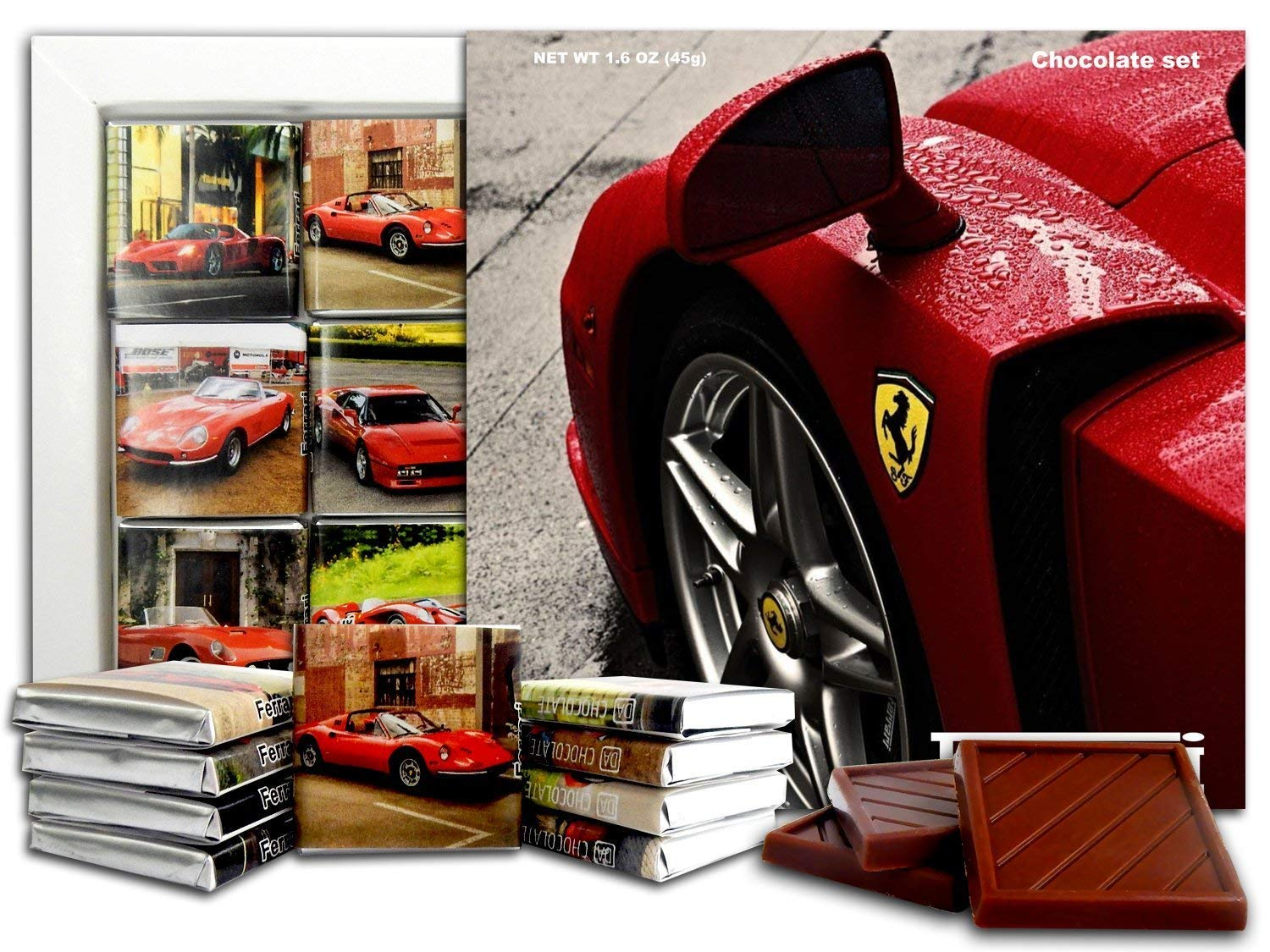 Amazon Com Ferrari Chocolate Gift Set 5x5in 1 Box Logo Prime 0771 Grocery Gourmet Food