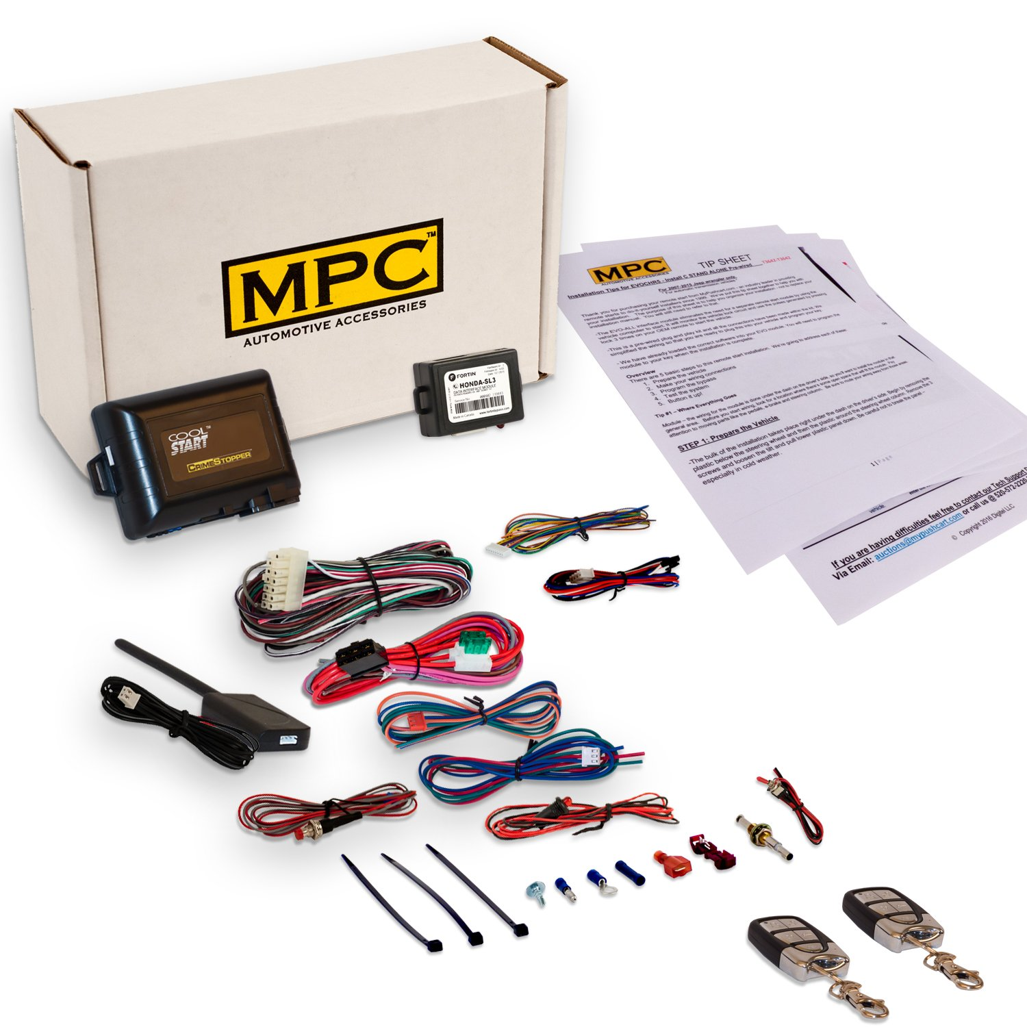 Complete Remote Start Kit With Keyless Entry For 2003-2008 Honda Pilot - Includes (2) 4 Button Remotes