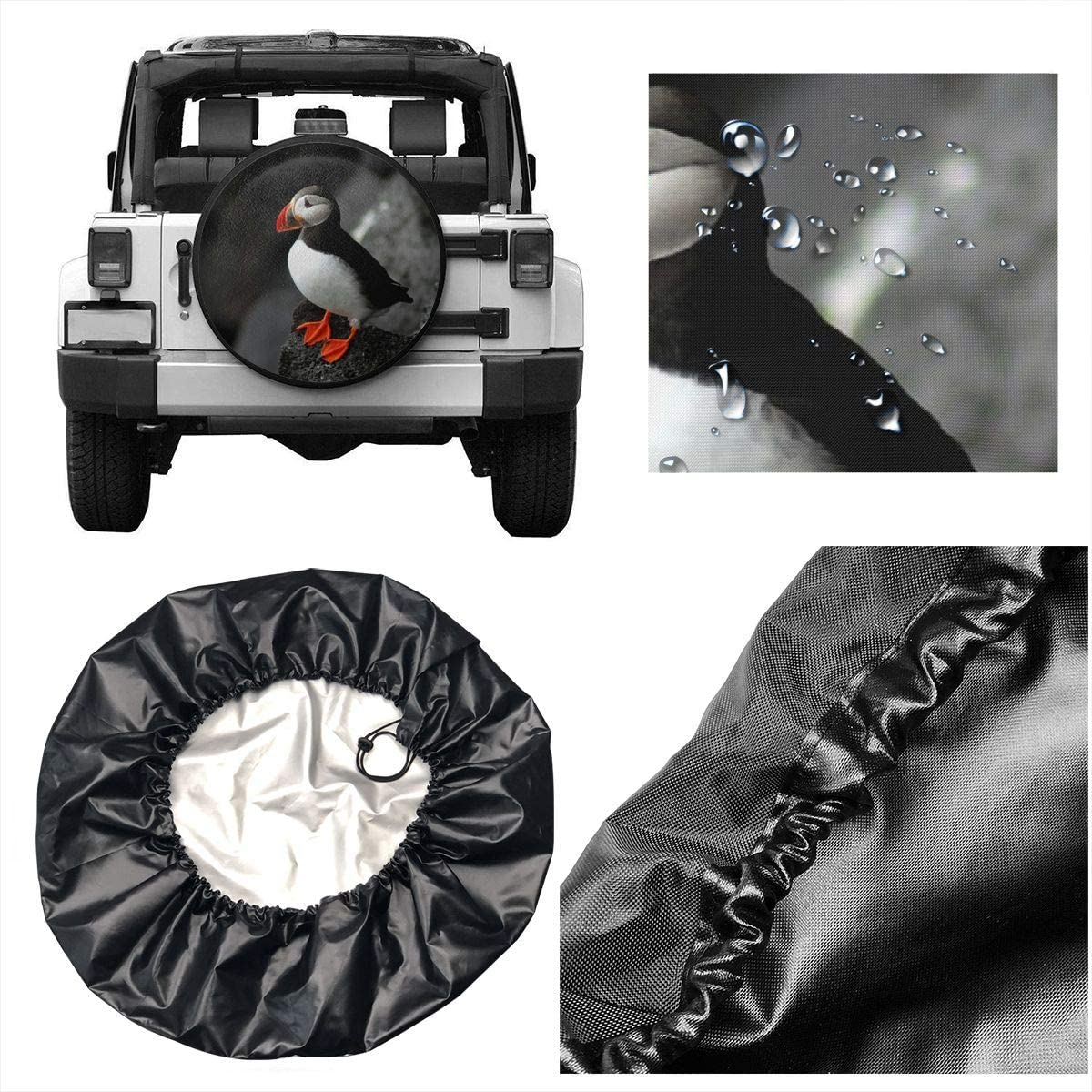 Atlantic Puffin Bird Beak Sit Rock Polyester Universal Spare Wheel Tire Cover for Jeep Trailer RV SUV Truck Camper Travel Trailer Accessories 16 Inch